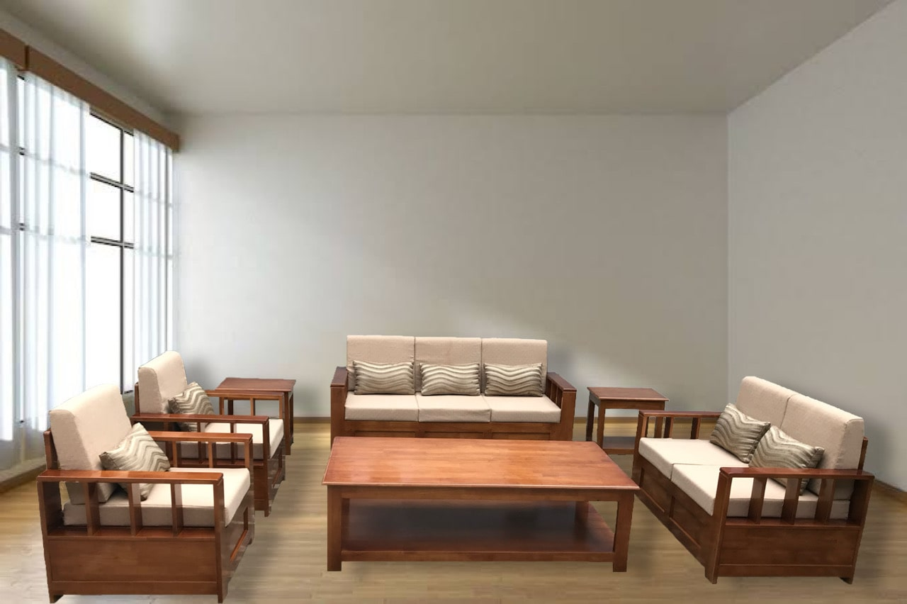 7 seater rubberwood sofa with centre table sold by Imperial Furnishing Furniture Showroom in Thimphu