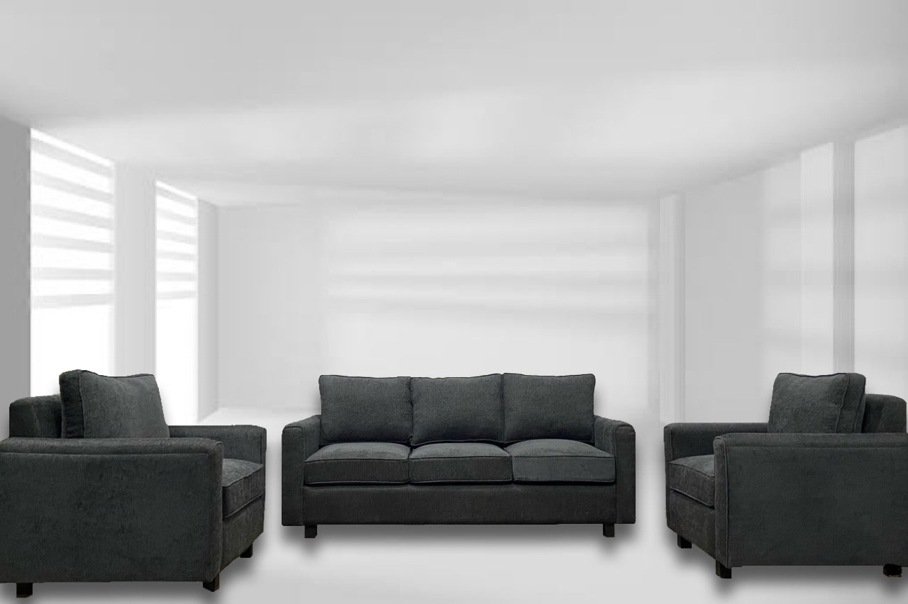 Black 5 seater sofa set sold by Imperial Furnishing which is the best furniture store in Thimphu.
